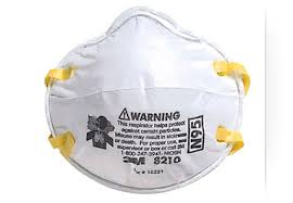 An N95 mask, a respiratory protective device designed to achieve a very close facial fit and very efficient filtration of airborne particles.