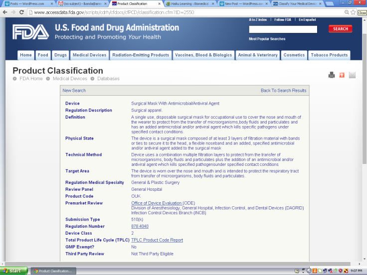 Source: Screen shot of http://www.accessdata.fda.gov/scripts/cdrh/cfdocs/cfPCD/classification.cfm?ID=2550