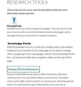 Screenshot of Ann Richards School Library Website. Credit to Shawn Mauser.