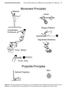 The nine principals of Biomechanics outlined here in these pictures contribute to all human movements. In our design research we will most likely be focusing on balance, range of motion and optimal projection.