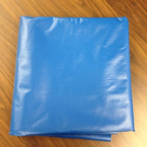 An abundant amount of blue vinyl fabric that the Comfort4U team ordered, the only material that was able to come in during these few weeks.