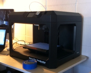 The MakerBot Replicator, a 3D printer that we may use to print some of our prototype parts (Original screenshot)