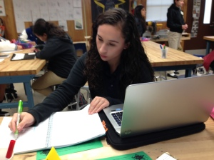 Original photo of Stephanie beginning to work on her AutoCad model.