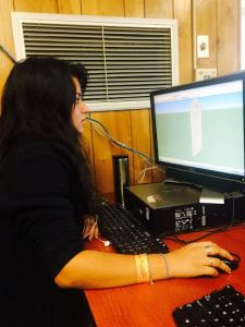 Lourdes is working on Sketch-Up - Photo taken by Dayanne Acosta