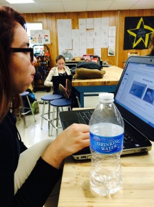 Original photo by Grecia L. Showing team member Nelly getting a feel for Google Sketchup.