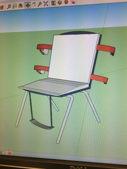 As described in the blog, the 3D model shows the belt, cushion and elastic features we plan on incorporating to a school chair.