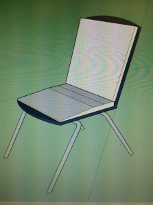 This is an image of Comfort4U's chair created on Google Sketchup. This is the beginning stage of the final 3D model.