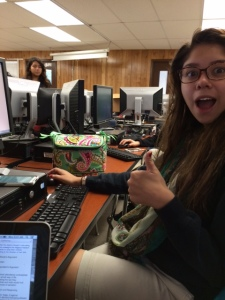 Team member, Gabriela, hard at work trying to meet the deadline.