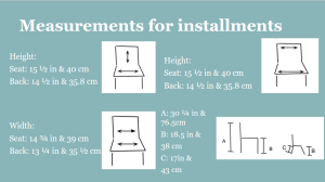 A screenshot from our final presentation showing the measurements of a school chair alongside images of chairs with arrows showing what part of the chair was measured.