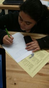Ana is researching and taking notes about sensors.