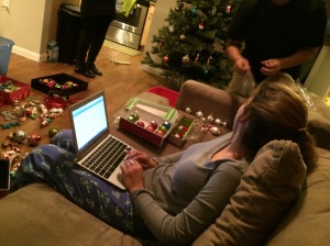 watching Amanda's family put up their Christmas tree, while downloading Google Sketch Up.