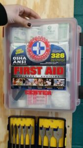 This is the First-Aid Kit that is in the Makerspace.
