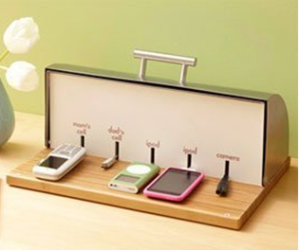 Breadbox Charging Station http://www.apartmenttherapy.com/the-breadbox-charging-station-155047