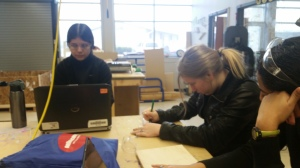 Rachel Z. working on the prototype, and Brittany H. is working on an app.