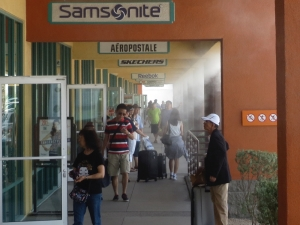 This is an example of a misting system used in a shopping center to keep shoppers cool on a hot day.