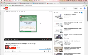 Original screenshot of YouTube Google SketchUp tutorial watched