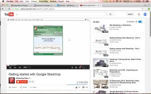 Original screenshot of YouTube Google SketchUp tutorial watched