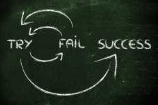 cycle to reach success: try, fail, try again, success